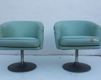 Mid-Century Modern Tulip Base  Swivel Chairs A Pair .