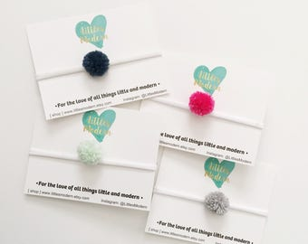 Single mini pom pom headband - Nylon Elastic
