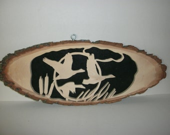 Handmade Scrollsaw art With Three Geese Flying Cutout of Basswood Piece
