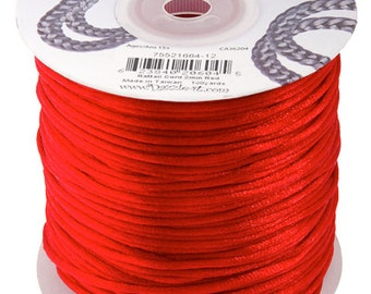 Red Satin 2 mm Rattail Cord - 100 yd - 300 Ft - Full Spool - Kumihimo Cording