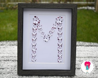 Letter M 3D Flower paper cut svg / dxf / eps / files and pdf / png printable templates for hand cutting. Digital download.