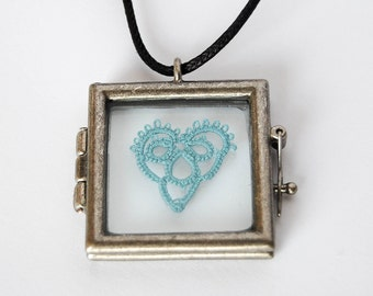 Turquoise Tatted Heart Necklace