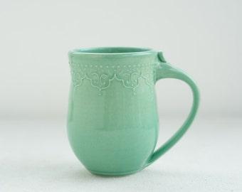 Handmade Lace Mug in Mint