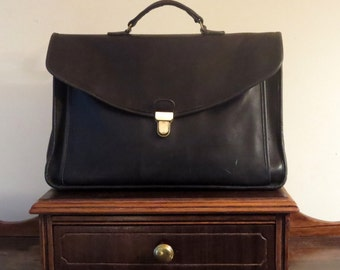 Spring Sale Coach Morgan Briefcase Black Leather With Brass Touchlock Closure- U.S.A. Made- No Strap