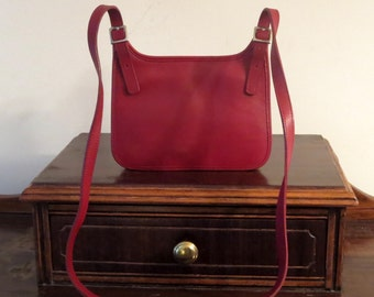 Spring Sale Coach Small Hippie (Hipster) Flap Bag In Red Leather With Nickel Hardware- Style No 9142 - Made In Costa Rica - EUC