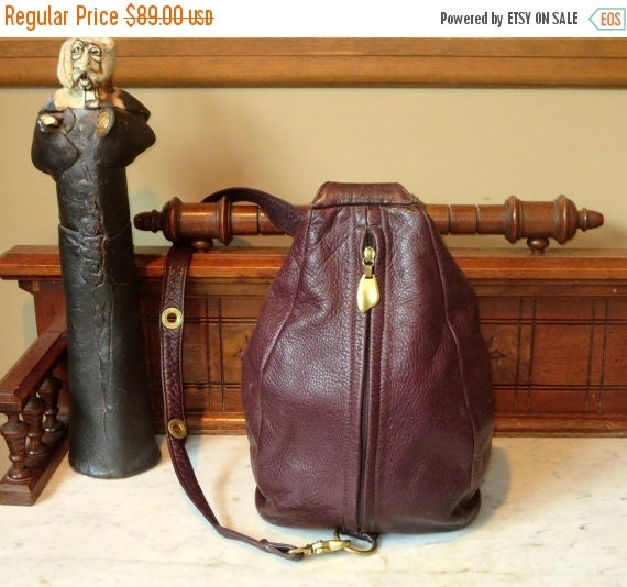 Football Days Sale Vintage Mahogany Leather Sling Shoulder Bag With Solid Brass Hardware - Made In The United States By Peter Libarie- VGC