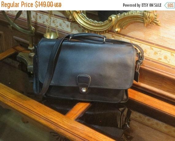 Football Days Sale Coach Metropolitan Black Leather Briefcase With Nickel Silver Tone Hardware, Attache, Laptop, IPad Case Style No. 5180 -