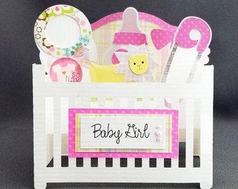 Handmade Baby Girl Crib box card