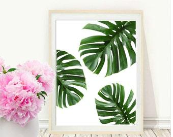 Tropical Leaf, Printable Art, Monstera leaves, Tropical Leaves, Tropical Decor, Green Wall decor, Instant Download, Wall Art