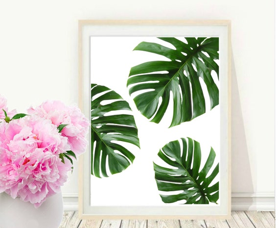 Tropical Leaf Printable Art Monstera Leaves Tropical