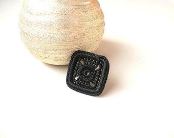 Black Ring, Crochet Black Ring, Square Ring, Adjustable Ring, Knitted Ring, Boho Ring, Vintage Ring, Statement Ring, Girlfriend Gift