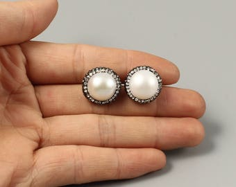 Freshwater Pearl Stud Earrings, Pearl Earrings, Ivory White Pearls , Wedding Jewelry, Bridesmaids Gifts, June Birthstone, Birthday Gift