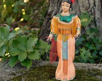 SALE vintage asian cloth doll,  rare toys, dancer doll, unique gift, made 1980 (B3)