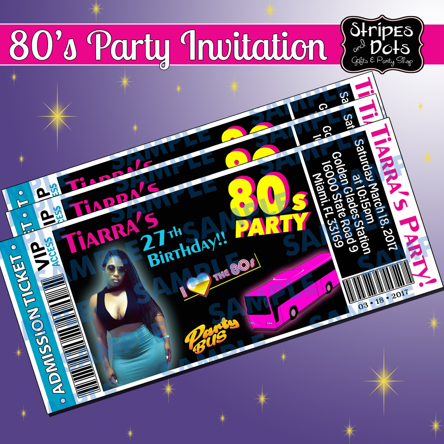 Ticket Invitations Party Bus Invitation 80 S