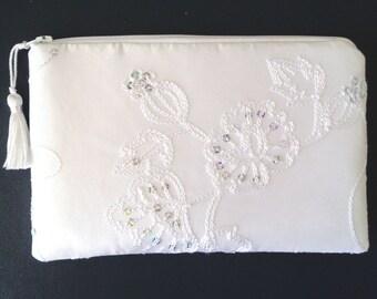 White Clutch, Sequin Clutch, Lace Clutch, Bridesmaid Gift, Bridal Clutch, Brides Purse, Evening Bag, Wedding Purse, White Lace Clutch