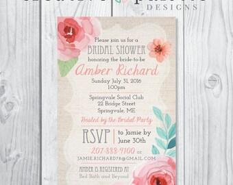Customizable Pastel Floral Bridal Shower invitation