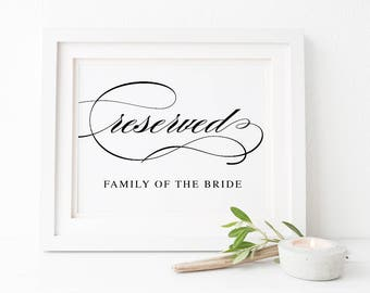 Black and White Calligraphy Printable Wedding Sign, Reserved Family of the Bride Groom, Instant Download, Peach Perfect Australia