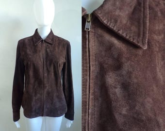 40%offAug15-17 90s brown suede jacket size xs/small 4, genuine suede leather jacket, 1990s minimalist suede coat