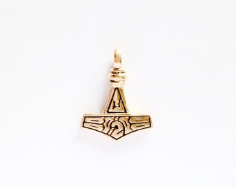 Small Thor's Hammer from Gotland Moon and Solar Symbol VIKING KRISTALL Bronze Pendant