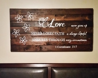 Love sign, master bedroom decor, romantic signs, 1 corinthians 13 sign, Love is patient and kind, rustic bedroom decor, handpainted, love