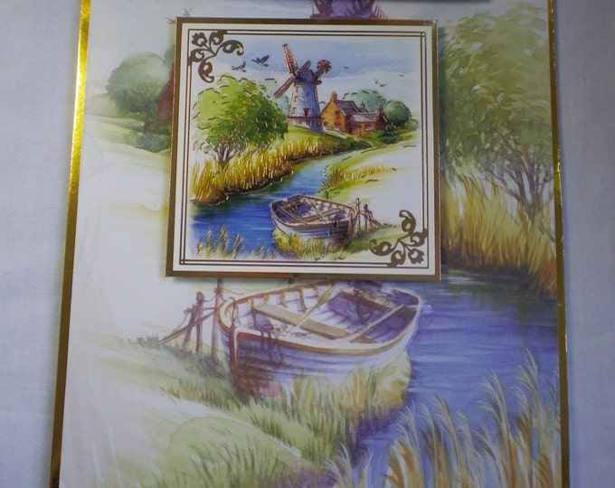 Retirement Card, Greeting Card, Boat and River Scene, Countryside, Male or Female, Mum, Dad, Brother,Sister