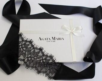 Black Audrey Lace and Satin Eye Mask Wedding Lingerie Blindfold Honeymoon Gift Valentines Lingerie Gift Eyemask