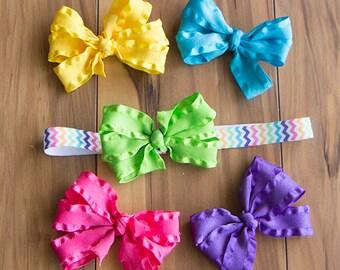 Rainbow Chevron Headband/ Hair Bow Set, Ruffle Hair Bow Gift Set, Girls Interchangeable Rainbow Bow Set, Rainbow Baby Gift, Ruffle Bow Set