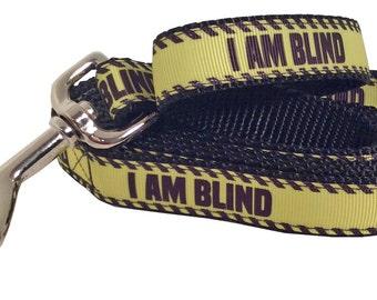 I AM BLIND Dog Leash, Yellow and Black, I am Blind Martingale Dog Collar