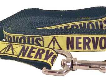 NERVOUS Dog Leash, Yellow and Black, Nervous Martingale Dog Collar