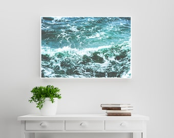 Ocean waves, nature photography. Turquoise & white modern, beach, natural, hygge and scandinavian design and decor. Printable download.