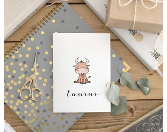 Taurus Card // taurus, zodiac sign, zodiac card, birthday card, cute card, cute taurus, astrological sign, greeting card, watercolour card