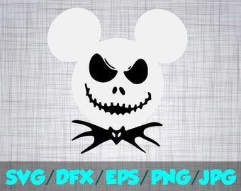 Disney Halloween SVG Decal Cutting File / Clipart iron on, Eps, Dxf, Png, and Jpeg Cricut Silhouette Mickey Jack Nightmare before christmas