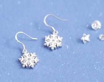 Snowflake Hook Earrings 925 Sterling Silver Dainty