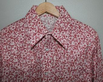 Vintage 60s Red White Flower Power Hippie Shirt 17 17 1/2 Poly Cotton Blend Disco Mod Swing London
