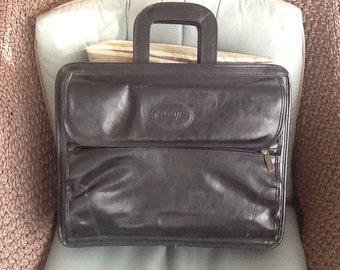 Vintage Bugatti Briefcase / Leather Attache' Case / Genuine Leather Bugatti / Free Shipping