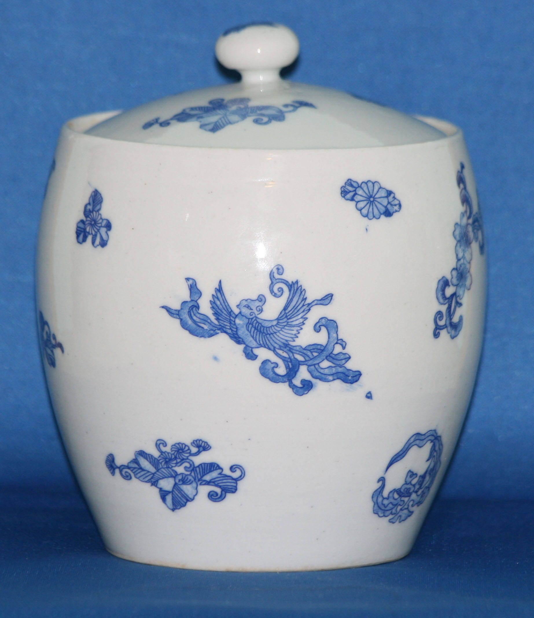 Vintage Stoneware Biscuit Jar Blue Transferware Birds And