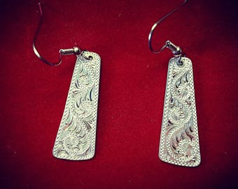 Sterling silver earrings,  hand engraved, western bright cut
