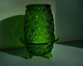 Daisy and Button Emerald Green Fairy Lamp ~ Two Piece