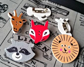 Animal badges, zoon buttons, lion pin, fox badge, zebra brooch, giraffe pin, raccoon lover, novelty gift