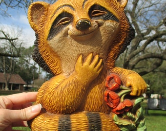 cute vintage raccoon plaque, 1970's wall decor, retro raccoon, Homco wall plaque, raccoon art, molded plastic, cabin decor, forest animal