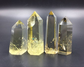 Clear Citrine Quartz Crystal Tower Point Natural Yellow Citrine Crystal Wand Obelisk Standing Point Meditation Healing Reiki Crystal Grid B