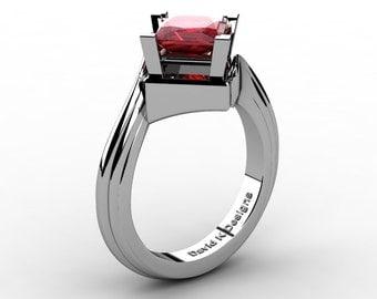 Modern French 14K White Gold 2.0 Ct Princess Ruby Engagement Ring R1101-14KWGR
