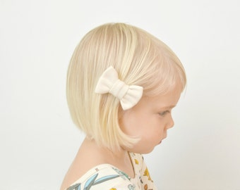 Mini Bow Hair Clip - Cream Hair Clip - Baby Girl Gift