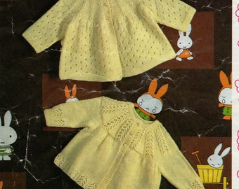 PDF Knitting Pattern Baby's girls vintage  coats in 3 ply wool- fits 1-12 months
