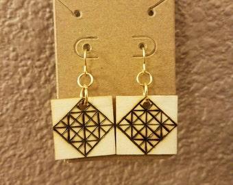 Square woodburned earrings small geometric design line work nickle free fish hook earrings