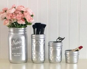 mason jar makeup brush holder. makeup organizer, brush holder, silver mason jars, vanity dresser accessories jar holder a