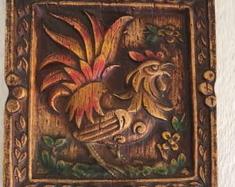 Vintage 3D Rooster Resin Wall Plaque.