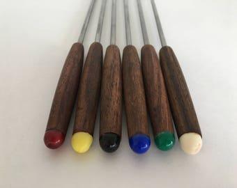 Mid Century Modern Fondue Forks Tea Wood Metal Set Of 6