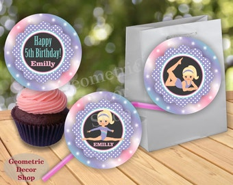 GYMNASTIC Birthday Cupcake toppers Printable Gymnastics Stickers Gymnastic Party Printable Sticker Girl Pink Aqua Green Purple Favor tags G1