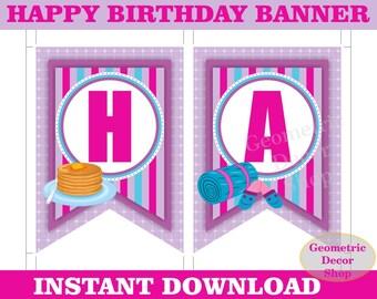 Pancake Happy Birthday Banner Printable Sleepover pink purple teal Slumber Party INSTANT DOWNLOAD Girl pajamas PJ's BNSO1